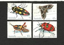1991 Australia SCOTT #1211-14 Insects  beetle moth grasshopper Θ used stamps