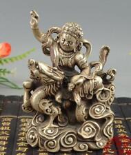 Old Tibet Buddhism Silver Ride Dragon White Jambhala Wealth God Buddha Statue