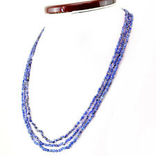 Blue Tanzanite 128.50 Cts Natural Amazing 20 Inches Long Round Beads Necklace