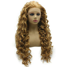 Long Curly Golden Blonde Synthetic Lace Front Wig