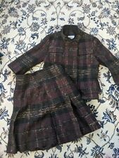 Akris Punto Tweed Career Blazer 4 And Skirt  6 Purple Wool Blend Switzerland Set