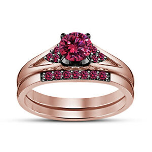 2 Ct Round Pink Sapphire Engagement Ring Wedding Bridal Set 14K Rose Gold Over