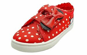 Disney Minnie Mouse Girls Canvas Shoes in Red and White Polka Dot