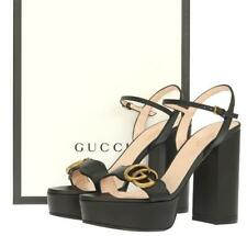 NEW GUCCI LIFFORD BLACK DOUBLE G SANDALS HEELS SHOES 39/US 9