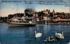 Schiffe 1926 Schweiz Schiffsanlegestelle Quai Fahrgastschiff NYON AK & Stempel