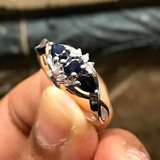 Natural Blue Sapphire, Accent Stone 925 Solid Sterling Silver Designer Ring sz 6