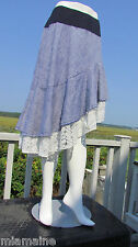 NEW XS The PYRAMID COLLECTION skirt gypsy white eyelet lace denim assymetrical