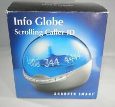 Sharper Image InfoGlobe Scrolling Caller ID BLUE WI701 Info Globe Clock +