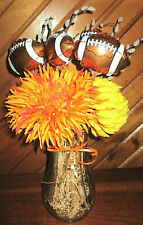 """18"""" FOOTBALL Autumn Faux PUSSY WILLOWS Orange Yellow FLORAL Hoosier Glass VASE"""