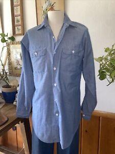 Big Mac Western Pearl Snap Chambray Work Shirt Blue Grey Medium Xtra Tall