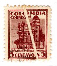 COLOMBIA - OBSERVATORY - 5c STAMP - PRE-PRINTING FOLD ERROR - 1946 - Sc 538v