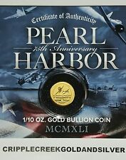 2016-P $15 Pearl Harbor Perth Mint 1/10 oz. .9999 Gold Coin - Encapsulated - COA