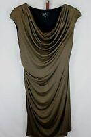 Ronini Nicole Womens Ladies Gold Blac Metallic Cap Sleeve Dress Size 14