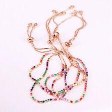 Adjustable HQ Cubic Zirconia Rose Gold Box Chain Slider Bracelet Woman, UKseller