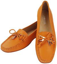 Mokassin Loafer Leder Orange Schleife Gold Einzelpaar Größe 38