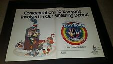 Tiny Toon Adventures Rare Spielberg Warner Brothers Promo Poster Ad Framed!
