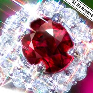 Ruby Ring 18K Gold BURMA RUBY Diamond Estate Vintage Cocktail Engagement Ring
