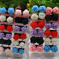 12 Pairs Rose Stud Earrings Mixed Color Flower Earrings Wholesale Jewelry Set JX