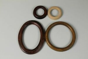 4 Mini Wooden Picture Frame - Round+Oval - Natural + Braun - Ø 2 13/16in To