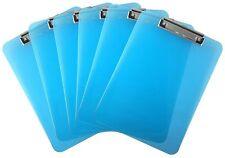 Plastic Clipboard Transparent Letter Size Low Profile Clip (Pack of 6) (Blue)