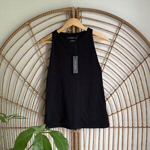 Decjuba Black Cotton Tank Top Size L Longline Fitted NWT Sleeveless Womens