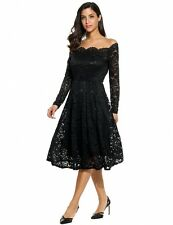 "AMY""STUNNING LADIES SIZE 12-14 BLACK STRETCH LACE ELEGANT OFF THE SHOULDER DRESS"