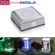 LED Light Crystal Display Stand Base 6 Types Colorful Home Party Decor With USB