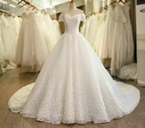 Luxury Lace White Ivory Off Shoulder Lace A Line Wedding Dresses Size 6-18