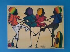 D Roberts Jamaica Signed Original Artwork Reggae Dancing Oil On Canvas