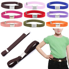 Kids Girls Adjustable Waistband Canvas Pants Belt Alloy Buckle Elastic au