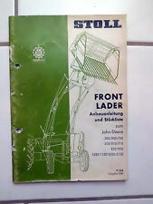 Stoll Frontlader  John Deere   Anbauanleitung Ersatzteilliste 1969