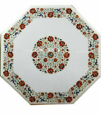 "30"" Marble Table Top Handmade Floral Carnelian Inlay Home Decor Furniture"