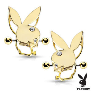 Pair of Nipple Shields with Playboy Bunny Double Tier 14g