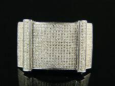 Mens White Gold Round Cut Pave Diamond 10K Ring 2.0 Ct