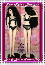 Black Lace Bikini & Bra Sewing PATTERN KIT fits 1/3 BJD Dollfie Obitsu
