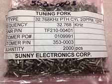 Sunny Elec Tuning Fork 32.768khz PTH Cyl 20 Ppm, TF210-00401, Lot Of 2000, F#47