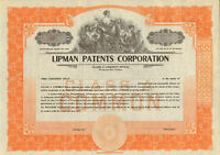 Lipman Patents Corporation > old collectible stock certificate share scripophily
