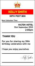Birthday 30th sign  4' x 7.5'  royal mail insert post box Card Box