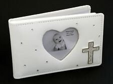 White Baby Photo Album With Diamonte Heart Cross