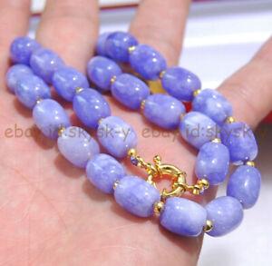 9x11mm Lavender Purple Jade Gemstone Barrel Cylinder Beads Necklace 16-50''