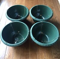 "x4 Hanging Planters Large 12"" Reusable Plastic Green Plant Baskets Hook & Chains"