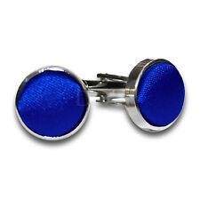 DQT Brass Fabric Inlay Cuff Links Plain Solid Royal Blue Mens Cufflinks