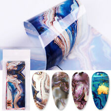 10Pcs Nail Foil Stickers Color Marble Flower Nail Art Transfer Decals Decoration