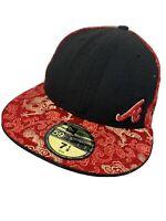 New Era Atlanta Braves Red & Black Oriental Style Baseball Cap Hat 7 1/8 57cm