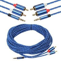 10M 2RCA To 3.5mm Jack Male Aux Cable Gold Plated Headphone Aux Jack Splitte Lot