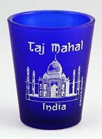 INDIA TAJ MAHAL COBALT BLUE FROSTED SHOT GLASS SHOTGLASS