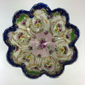 Cobalt Blue Hand Painted Flowers Gold 3 Footed Nippon Porcelain Bowl Ruffle
