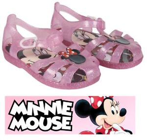 Kids Girls Toddlers Minnie Mouse Summer Beach Jelly Shoes Sandals Flip Flops UK