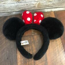 Youth Disney Parks WDW Minnie Mouse Plush Ears Headband Red White Polka Dot Bow