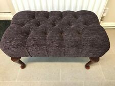 """Stunning NEW Large Chocolate Brown Flat Weave 24""""x 14"""" Buttoned Foot Stool"""